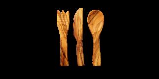cubierto de madera de olivo para comer picnic