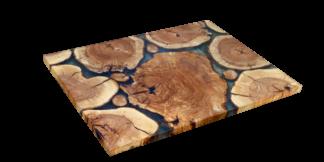 mesa de rodajas de tronco de olivo
